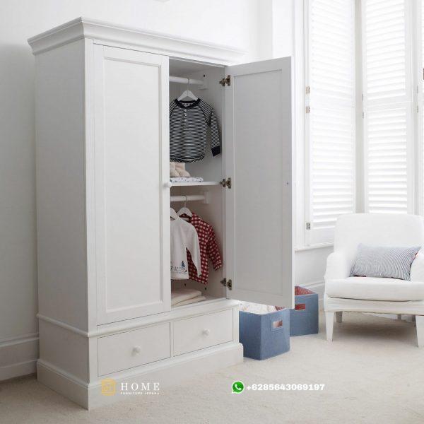 Model Lemari Pakaian 2 Pintu Warna Putih Jepara - Bagus